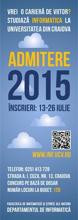 Admitere Informatica - Sesiunea iulie 2015