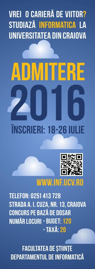 Admitere Informatica - Sesiunea iulie 2016
